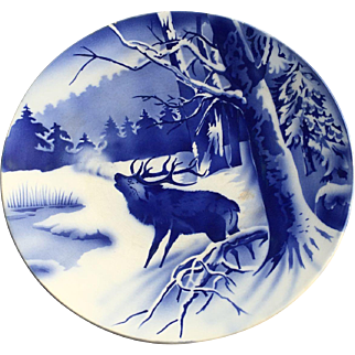 Villeroy & Boch  Wallerfangen, blue glazed plate depicting deer in a winter landscape