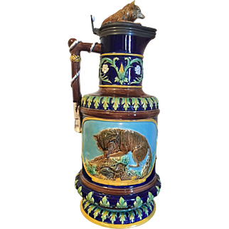 "19th Century GEORGE JONES MAJOLICA hunt jug (14"") with fox on hinged lid"