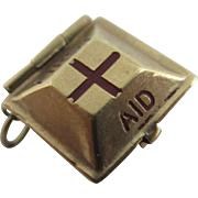 9k yellow gold enamel opening 1st aid box charm Vintage 1962 London