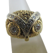 Diamond 14k yellow gold owl bird head ring size R Antique Art Deco
