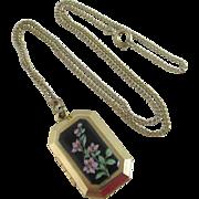 Enamel flowers 9k gold plate double pendant locket necklace Vintage c19950