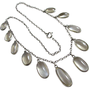Moonstone sterling silver dangling pendant necklace Antique Edwardian c1910