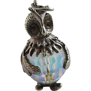 Facetted crystal rhinestone sterling silver owl charm Vintage c1960