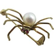 Natural sea pearl 14k yellow gold spider brooch pin Vintage Art Deco c1920