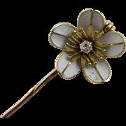 Diamond & enamel flower 14k gold stick pin brooch Vintage Art Deco c1920