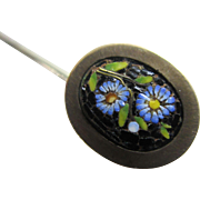 Micro mosaic forget me not flower stick pin brooch Antique Victorian