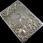 Sterling silver stag deer cigarette case Antique 1905 Edwardian