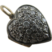 Faux diamond sterling silver 15k / 15ct gold heart pendant locket antique Victorian c1860