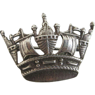 Sterling silver crown brooch pin antique Edwardian c1910