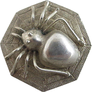 Sterling silver spider in web brooch pin vintage Art Deco c1920