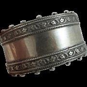 Sterling silver wide ivy leaf bangle bracelet antique Victorian c1880