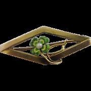 Enamel & pearl 9k gold lucky 4 leaf clover brooch pin Vintage Art Deco c1920