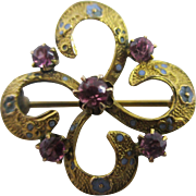 Almondine garnet enamel 14k gold brooch pin Antique Victorian c1890