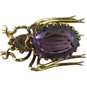 Amethyst & citrine in 15k yellow gold bug brooch pin Antique Victorian c1880