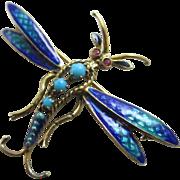 Turquoise enamel in 14k gold dragonfly brooch pin Vintage Art Deco c1920