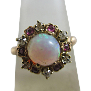 Fiery opal diamond ruby 15k yellow gold ring Antique Victorian c1860