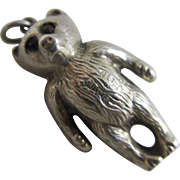 Sterling silver puffy teddy bear pendant charm Antique Edwardian 1907 Chester