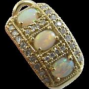 Fiery opal & diamond 14k yellow gold pendant earrings Vintage c1980