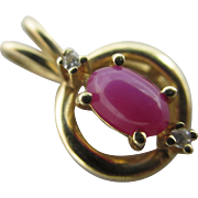 Star ruby & diamond in 14k yellow gold pendant Vintage c1980