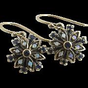 Fiery opal & sapphire in 9k gold dangling ear pendant earrings Vintage c1980
