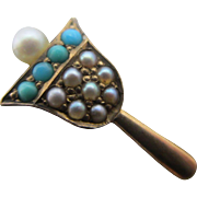 Turquoise seed pearl in 15k gold hand bell stick pin brooch Antique Victorian c1890