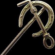 10k rose gold lucky horseshoe riding crop stick pin brooch antique Victorian c1890