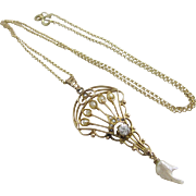 Dangling baroque pearl diamond 14k gold pendant lavalier vintage Art Deco c1920