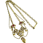 Seed pearl ruby rhinestone paste 15k gold cased heart dangling pendant necklace antique Victorian c1860