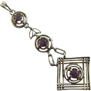 Amethyst paste 9k gold dangling pendant lavalier antique Edwardian c1910
