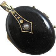 Black mourning enamel pearl 15k gold double locket antique Victorian c1880