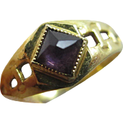 Amethyst paste in 14k gold child baby ring vintage Art Deco c1920
