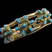 Turquoise 14k gold bangle bracelet Vintage c1970