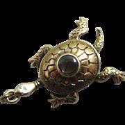 Hematite 14k gold turtle pendant charm Vintage c1980