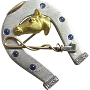 Diamond, sapphire & ruby in platinum & 18k gold horse head & riding crop in lucky horseshoe brooch pin vintage Art Deco c1920