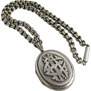 Sterling silver 'EAI' love double pendant locket book chain Victorian c1880