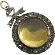 Paste 9k gold sterling silver pendant locket with box antique Edwardian 1902 hallmarked