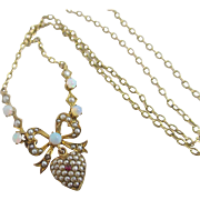 Fiery opal pave set seed pearl in 9k gold dangling heart pendant necklace antique Victorian c1890
