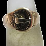 9k rose gold buckle ring vintage Art Deco c1920