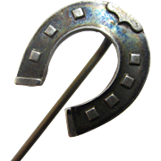 Sterling silver lucky horseshoe stick pin brooch antique Victorian c1890