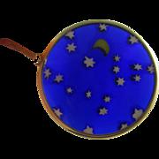 Plique a jour in 14k gold moon & stars pendant vintage c1980