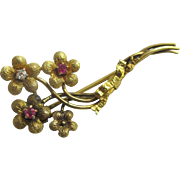Ruby & diamond in 9k gold flowers brooch pin Vintage c1970