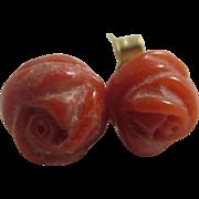 Real coral rose bud flowers 9k gold stud earrings vintage Art Deco c1920