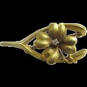 Diamond in 14k gold lucky shamrock & wishbone brooch pin antique Victorian c1890