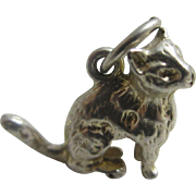 Sterling silver sitting pussy cat English charm Vintage c1960