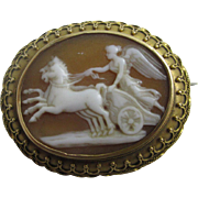 Real shell cameo depicting Queen Boudicca 15k gold cannetille brooch pin antique Georgian c1820