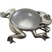 Jelly belly in sterling silver jumping frog brooch pin vintage Art Deco c1920