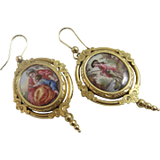 Enamel in 15k gold dangling ear pendant earrings antique Georgian c1820