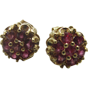 14k gold ruby spinel stud earrings Vintage c1980
