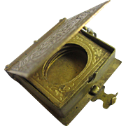 Gilt metal book family double pendant locket antique Victorian c1880