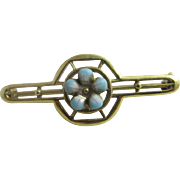 Enamel forget me not flower 14k gold brooch pin antique Victorian c1890